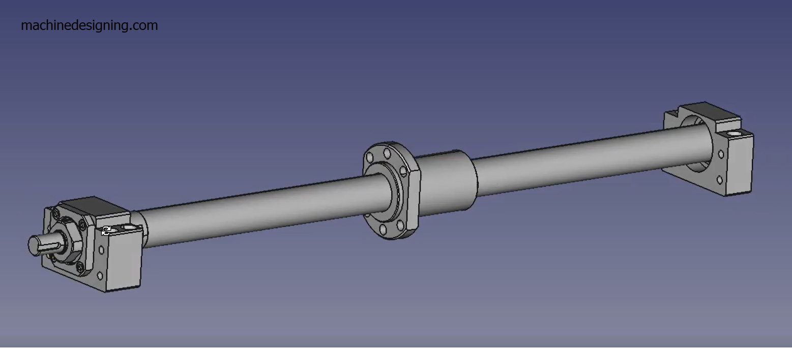 assembly of fixed and supported side of ball screw