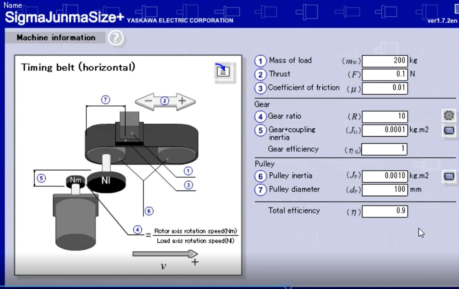 servo motor sizing input values